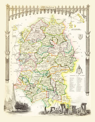 """Thomas Moule Map of Wiltshire 1836: 20"""" x 16"""" Photographic Print of the County of Wiltshire - England"""