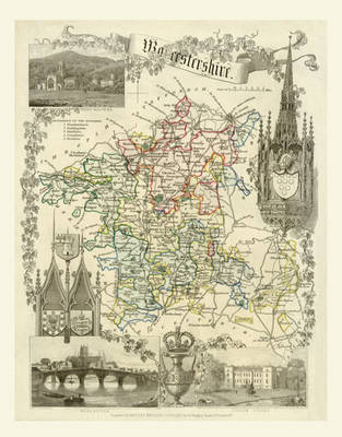 """Thomas Moule Map of Worcestershire 1836: 20"""" x 16"""" Photographic Print of the County of Worcestershire - England"""