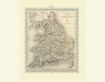 Railway Map of England and Wales 1852: Colour Print of Map of Railways of England and Wales 1852
