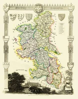 Thomas Moules Map of Buckinghamshire 1837: Colour Print of County Map of Buckinghamshire 1837 by Thomas Moule