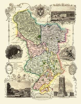 Thomas Moules Map of Derbyshire 1837: Colour Print of County Map of Derbyshire 1837 by Thomas Moule