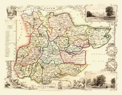 Thomas Moules Map of Essex 1837: Colour Print of County Map of Essex 1837 by Thomas Moule