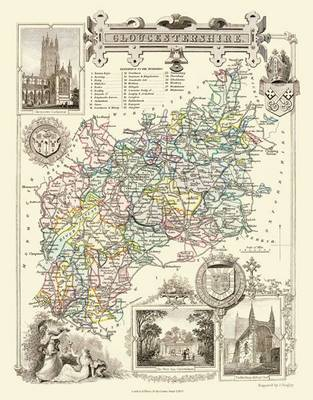 Thomas Moules Map of Gloucestershire 1837: Colour Print of County Map of Gloucestershire 1837 by Thomas Moule