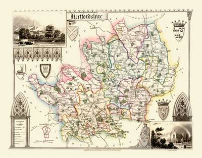 Thomas Moules Map of Hertfordshire 1837: Colour Print of County Map of Hertfordshire 1837 by Thomas Moule