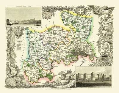 Thomas Moules Map of Middlesex 1837: Colour Print of County Map of Middlesex 1837 by Thomas Moule
