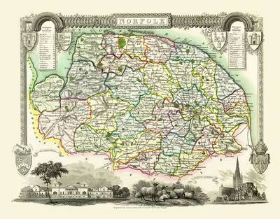 Thomas Moule Map of Norfolk 1837: Colour Print of County Map of Norfolk 1837 by Thomas Moule