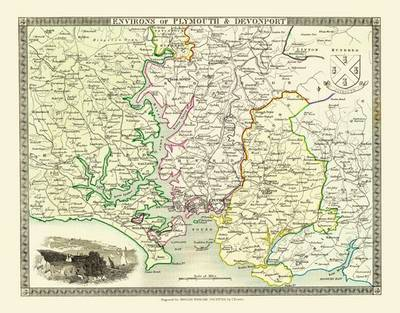Thomas Moules Map of Plymouth 1837: Colour Print of Map of Plymouth & Devonport 1837 by Thomas Moule