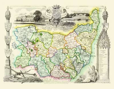 Thomas Moules Map of Suffolk 1837: Colour Print of County Map of Suffolk 1837 by Thomas Moule