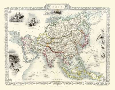John Tallis Map of Asia 1851: Colour Print of Map of Asia 1851 by John Tallis