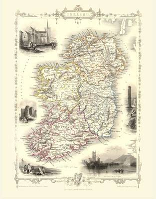 John Tallis Map of Ireland 1851: Colour Print of Map of Ireland 1851 by John Tallis