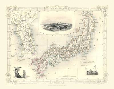 John Tallis Map of Japan and Korea 1851: Colour Print of Map of Japan and Korea 1851 by John Tallis