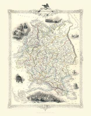 John Tallis Map of Russia in Euope 1851: Colour Print of Map of Russia in Europe 1851 by John Tallis