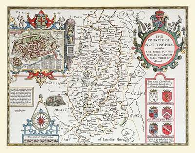 "John Speed's Map of Nottinghamshire 1611: 30"" x 25"" Large Photographic Poster Print of the County of Nottinghamshire - England"