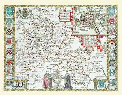 """John Speed's Map of Oxfordshire 1611: 30"""" x 25"""" Large Photographic Poster Print of Oxfordshire - England"""