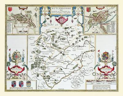 """John Speed's Map of Rutlandshire 1611: 30"""" x 25"""" Large Photographic Poster Print of Rutlandshire - England"""