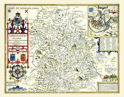 """John Speed's Map of Shropshire 1611: 30"""" x 25"""" Large Photographic Poster Print of the  County of Shropshire - England"""