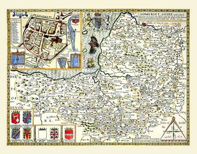 """John Speed's Map of Somerset 1611: 30"""" x 25"""" Large Photographic Poster Print of Somersetshire - England"""