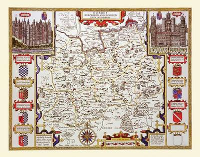 """John Speed's Map of Surrey 1611: 30"""" x 25"""" Large Photographic Poster Print of Surrey - England"""