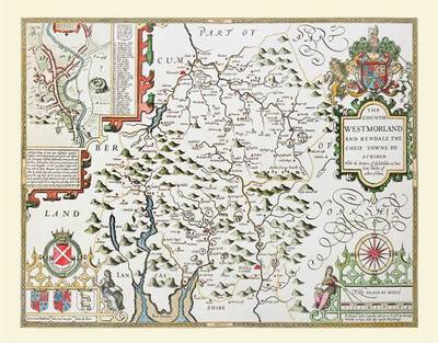 "John Speed's Map of Westmoreland 1611: 30"" x 25"" Large Photographic Poster Print of  Westmoreland - England"