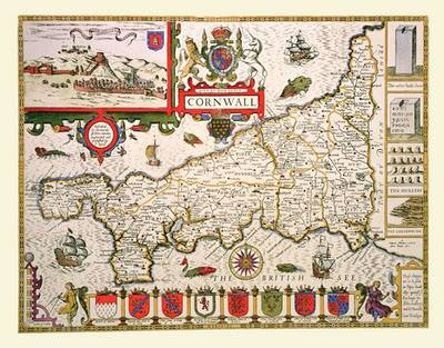 "John Speed's Map of Cornwall 1611: 30"" x 25"" Large Photographic Poster Print of Cornwall- England"
