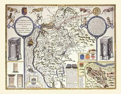 "John Speed's Map of Cumberland 1611: 30"" x 25"" Large Photographic Poster Print of Cumberland - England"