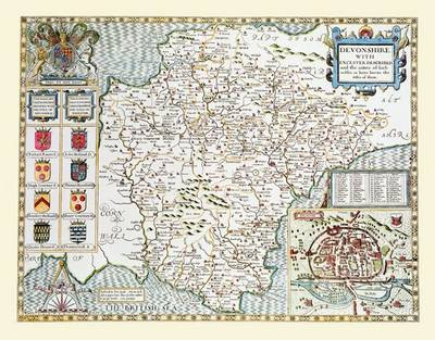 "John Speed's Map of Devon 1611: 30"" x 25"" Large Photographic Poster Print of Devon - England"