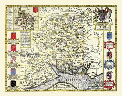 """John Speed's Map of Hampshire 1611: 30"""" x 25"""" Large Photographic Poster Print of Hampshire - England"""