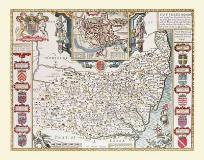 """John Speed's Map of Suffolk 1611: 30"""" X 25"""" Large Photographic Poster Print of Suffolk - England"""