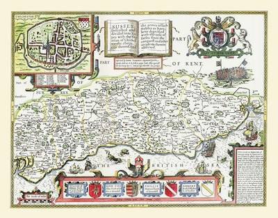 """John Speeds Map of Sussex 1611: 30"""" x 25"""" Large Photographic Poster Print of Sussex - England"""