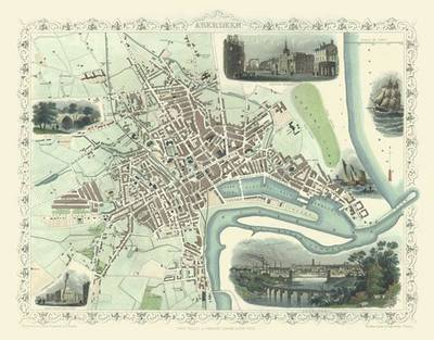 "John Tallis Map of Aberdeen 1851: 30"" x 25"" Large Photographic Poster Print of  Aberdeen - Scotland"