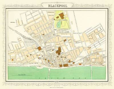 Map of Blackpool 1898: Colour Print of Map of Blackpool 1898