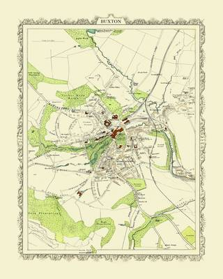 Collins Map of Buxton 1898: Colour Print of Map of Buxton 1898
