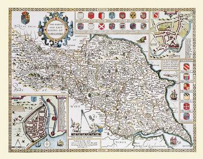 """John Speed Map of the North and East Riding of Yorkshire 1611: 20"""" x 16"""" Photographic Print of the North and East Riding of Yorkshire - England"""