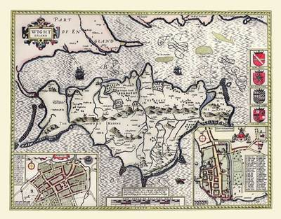 John Speed's Map of Isle of Wight 1611: Colour Print of Map of Isle of Wight 1611