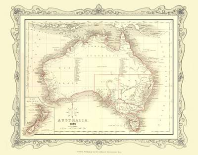 H Collins Map of Australia 1852: Colour Photographic Print of Map of Australia 1852