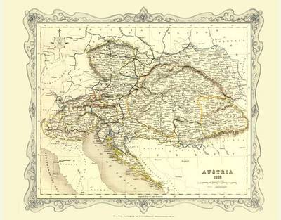 H Collins Map of Austria 1852: Colour Photographic Print of Map of Austria 1852