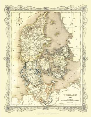 H Collins Map of Denmark 1852: Colour Photographic Print of Map of Denmark 1852