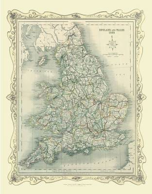 H Collins Map of England and Wales 1852: Colour Photographic Print of Map of England and Wales 1852