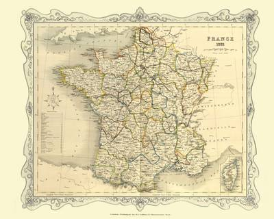 H Collins Map of France 1852: Colour Photographic Print of Map of France 1852