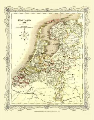 H Collins Map of Holland 1852: Colour Photographic Print of Map of Holland 1852