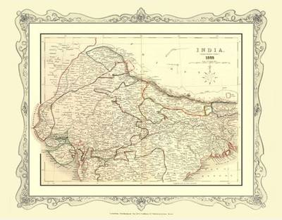 H Collins Map of Northern India 1852: Colour Photographic Print of Map of Northern India 1852
