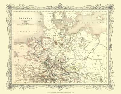 H Collins Map of Northern Germany 1852: Colour Photographic Print of Map of Northern Germany 1852