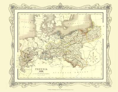 H Collins Map of Prussia 1852: Colour Photographic Print of Map of Prussia 1852