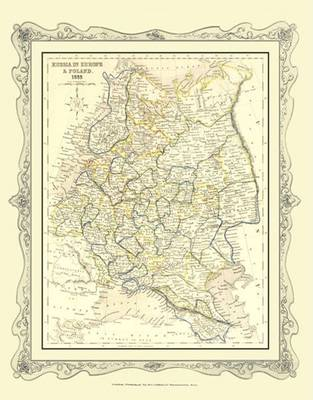 H Collins Map of Russia (including Poland) 1852: Colour Photographic Print of Map of Russia in Europe 1852