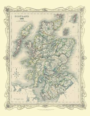 H Collins Map of Scotland 1852: Colour Photogaphic Print of Map of Scotland 1852