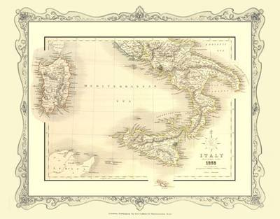 H Collins Map of Southern Italy 1852: Colour Photographic Print of Map of Southern Italy 1852