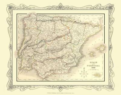 H Collins Map of Spain and Portugal 1852: Colour Photographic Print of Spain and Portugal 1852