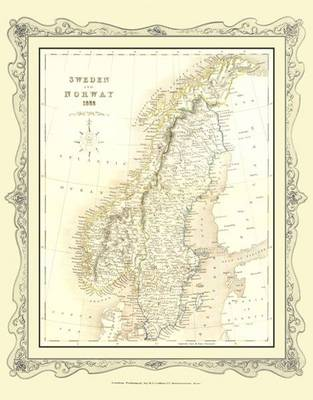 H Collins Map of Sweden 1852: Colour Photographic Print of Map of Sweden 1852