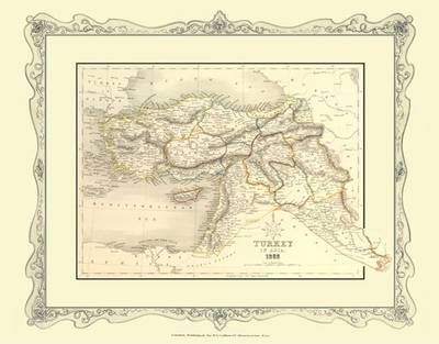 H Collins Map of Turkey in Asia 1852: Colour Photographic Print of Map of Turkey in Asia 1852