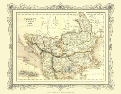 H Collins Map of Turkey in Europe 1852: Colour Photographic Print of Map of Turkey in Europe 1852